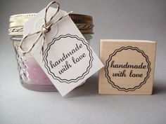 Handmade with Love Rubber Stamp Scalloped Circle by stampcouture, $6.00