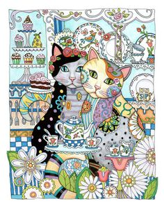 Creative Cats Features Over 30 Drawings Of Fancy Felines Cat Lovers And Colorists Are Enchanted With These Detailed Designs Where Each Is Arrayed In A
