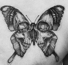 Intense black and gray skull butterfly (IG-bk_tattooer). - Intense black and gray skull butterfly (IG-bk_tattooer). and gray … … – Intense bl - Pretty Skull Tattoos, Skull Butterfly Tattoo, Tatto Skull, Butterfly Tattoo Designs, Skull Tattoo Design, Cute Tattoos, Leg Tattoos, Body Art Tattoos, Tattoo Drawings