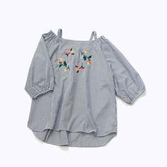 POUDOUDOU ---------------------------------------------------- flower embroidery stripe blouse 4900tax #poudoudou #pdd17ss #blouse