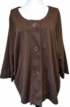 Soft by Avenue Plus Jacket Brown Big Buttons Blazer Womens 22 24 3/4 Sleeve #Avenue #BasicJacket