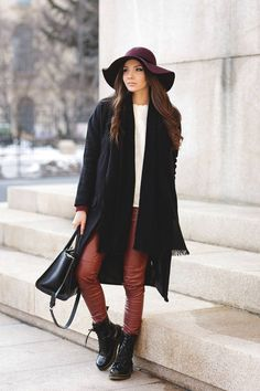 Burgundy And Black Winter Outfit