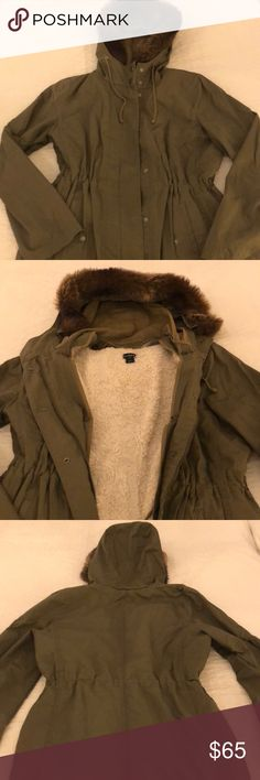 J. Crew army green jacket J. Crew army green jacket with removable fleece vest liner and removable faux fur hoodie J. Crew Jackets & Coats