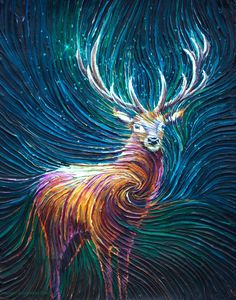 The Energy Art Store By Julia Watkins — The Red Stag Energy Painting - Giclee Print Painting Inspiration, Art Inspo, Les Themes, Finger Painting, Art Pictures, Creative Art, Amazing Art, Giclee Print, Cool Art