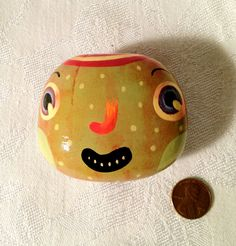 Paint and varnish larger rocks! Freckles  ROCK FACE by aliorange on Etsy, $27.00