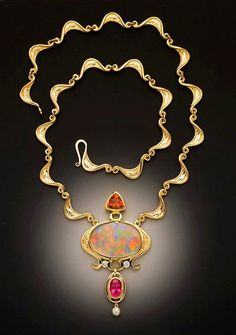 Glenn Dizon: Opal, Spessartite garnet, Pink Spinel and diamond Necklace. See more at the Festival Pavilion, Fort Mason in San Francisco, March 9 & Enamel Jewelry, Opal Jewelry, Jewelry Art, Jewelry Design, Fashion Jewelry, Jewelry Ideas, Jewellery, Art Necklaces, Diamond Pendant Necklace