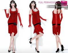 Full Perm Fitmesh and Rigged Mesh Flapper Dress