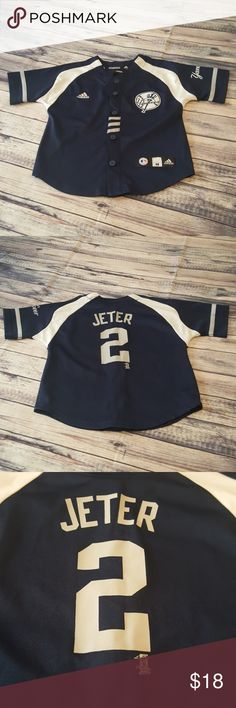Yankees Jeter kids shirt, size M 5/6 Adidas Yankees button down short sleeve shirt with no. 2 jeter on the back.  Kids size M 5/6.  All my items come from a smoke free/pet free home.  Ask all questions before buying.  Bundle discount given so check out my closet😊411 adidas Shirts & Tops Button Down Shirts