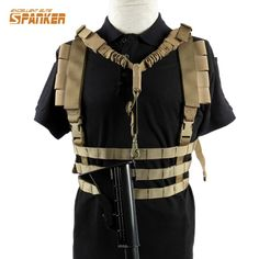 Lightweight Molle Tactical Chest Rig Vest with Removalbe Adjustable Gun Strap Sling Military Ammo Hunting Airsoft Paintball Gear