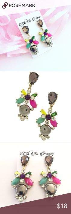 "Colorful Statement Earrings Colorful drop earrings. Post back. Measures approx 2"" long Oh So Fancy Jewelry Earrings"