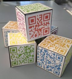 QR code reflection blocks: students role the cube, scan the code, then reflect on their learning!