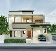 Architectural previsualization renders n 2 Storey House Design, Duplex House Design, House Front Design, Modern Exterior House Designs, Modern House Design, Exterior Design, Facade Design, Bungalow Haus Design, Beautiful Modern Homes