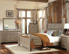 I like the greywash and clean lines || Stonehill 5 Piece Bedroom Set - FFO Home