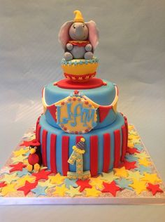 Dumbo Birthday cake for Meghan Dumbo Birthday Party, Carnival Birthday Parties, First Birthday Cakes, 1st Boy Birthday, Birthday Ideas, Circus Birthday, Themed Parties, Dumbo Baby Shower, Baby Dumbo