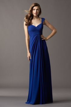 """watters 4515. Crinkle Chiffon Sweetheart neckline with 5"""" wide shirred straps Draped bodice Draped floor-length skirt Also available in above the knee length at 22"""". in cobalt"""