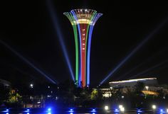 Eritrean Day celebrations EXPO Tower in Antalya Turkey, decorated with Eritrean flag colors. @expo2016antalya