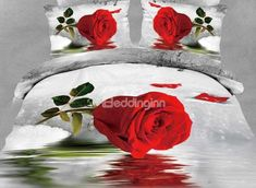 New Arrival Beautiful Rose on the Water Print 4 Piece Bedding Sets  @bedding inn