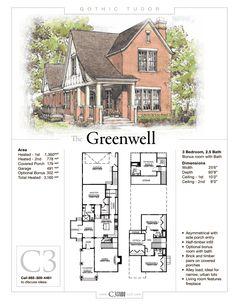 The Greenwell by Studio LLC Description Sheet - Gothic Tudor Beach House Floor Plans, Sims House Plans, Family House Plans, New House Plans, Sims Building, Building A House, Vampire House, Sims House Design, Vintage House Plans