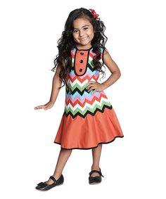 Look what I found on #zulily! Orange Chevron Button Dress - Infant, Toddler & Girls #zulilyfinds