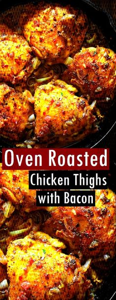 #roasted #chicken #recipes #thighs #bacon #oven #with #easy Oven Roasted Chicken Thighs with Bacon  - Easy Chicken Recipes -You can find Chicken thigh recipes oven and more on our website.Oven Roasted Chicken Thighs with Bacon  - Easy Chicke... Roast Chicken With Bacon, Oven Roasted Chicken Thighs, Chicken Thighs Dinner, Oven Chicken, Chicken Skin, Easy Chicken Thigh Recipes, Bone In Chicken Recipes, Easy Chicken Parmesan, Olives