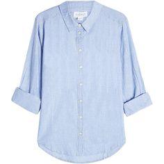 Velvet Striped Cotton Shirt (€160) ❤ liked on Polyvore featuring tops, shirts, blouses, stripes, velvet shirt, slimming shirts, cotton shirts, blue top and blue striped shirt