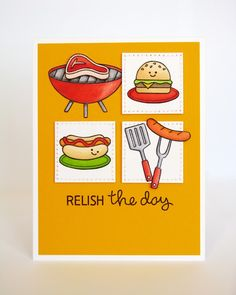 Lawn Fawn Let's BBQ Relish The Day Card by Mendi Yoshikawa