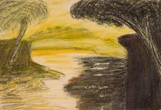 A landscape painting by Rabindranath Tagore. Pastel on Paper.