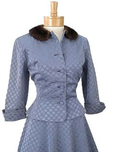 40s Blue Dotted Taffeta Party Dress and Jacket Set