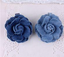 2016 Nova Moda Jean Rosette Flor Grampos de cabelo Handmade Azul Denim Mulheres Meninas Presilhas Grampos de Cabelo Ganchinhos Acessórios Para o Cabelo(China (Mainland))