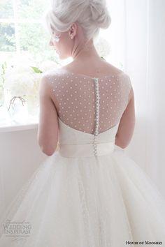house of mooshki bridal spring 2015 daisy short wedding dress sleeveless illusion back detail