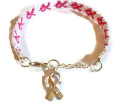 Embroidery Macrame Breast Cancer Awareness Bracelet With Lobster Clasp & Charm by BraceletsByJen