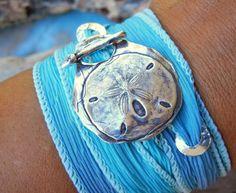 Beach Jewelry Silk Wrap Bracelet Delicate Sand by HappyGoLicky