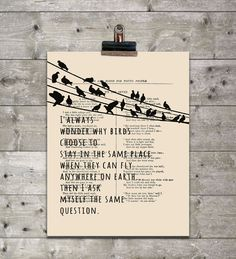 Typographic Print, Birds Poster print, Illustration art Print, Typography art print, Giclee Print, Travel quote, Inspirational quotes poster by eebookprints on Etsy