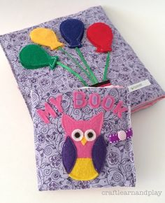 Soft Baby Sensory Book for babies to explore touch and feel. This book is toy for babies great fir fine motor development too. Made of cloth and fabric with different textures. Click to find out more and get pattern for DIY  baby book.