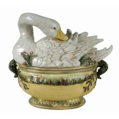 Majolica Style Goose Tureen with Ladle. Age and maker unknown.