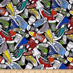 Timeless Treasures Novelty Sneakers Brite/Multi from @fabricdotcom Designed by Gail Cadden for Timeless Treasures, this cotton print fabric is perfect for quilting, craft projects, apparel and home décor accents. Colors include royal, orange, yellow, white, teal, red and grass green on a black background.
