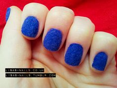 Blue fuzzy nails by Lisa's Nails