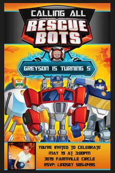 original party ideas for rescue bots 5th Birthday Party Ideas, Boy Birthday, Birthday Gifts, Transformers, Rescue Bots Birthday, Police Cops, Transformer Birthday, Partying Hard, Toddler Toys