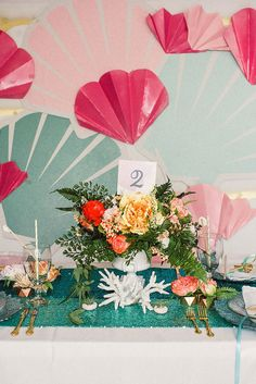 Wedding reception decor and place setting.