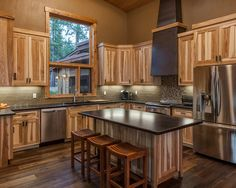 rustic hickory cabinets | Natural hickory cabinets | Decorating ideas