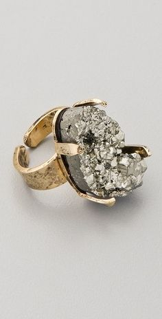 Citrine by the Stones Pyrite Pinky Ring - StyleSays. I'm not a big ring person- but I'd wear this.