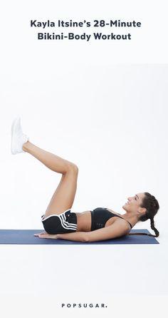 Burn calories and break a sweat with Kayla Itsines's 28-minute bikini-body circuit workout.