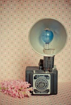Spring .Vintage camera print . coral pink shabby chic decor . nostalgic art . cottage home . romantic boho wall art  http://ezphotoscan.com