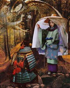 A Shinto Kami (Tengu). Samurai courting a lady. Painting by Howard David Johnson
