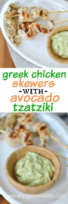 Grilled Greek Chicken on skewers with an Avocado Tzatziki dipping sauce. This is a must try, easy dinner recipe!
