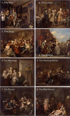 """William Hogarth, A rake's progress (1733) """"The eight paintings in William Hogarth's A Rake's Progress (1733) tell the story of Tom Rakewell, a young man who follows a path of vice and self-destruction after inheriting a fortune from his miserly father."""""""