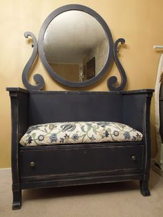 Antique Mahogany Bench with Original Mirror made from an old dresser...and yes, the bottom drawer is fully functional and the mirror tilts!  Paint is a gold metallic base with a deep navy on top that has been lightly distressed. The seat is generously padded and covered in Kravet Couture Merriment Indigo upholstery.