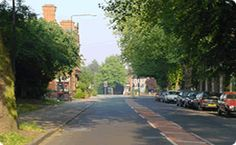 Flixton Road, just passing the girls school on the right and the pub on the left up ahead