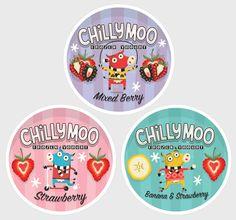 Ilustra e design do irlandês Steve Simpson nessas embalagens de frozen yogurt. http://www.stevesimpson.com/17721/582593/portfolio/chilly-moo