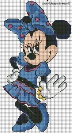 Minnie Mouse 1 of 2 Disney Cross Stitch Patterns, Cross Stitch For Kids, Cross Stitch Charts, Cross Stitch Designs, Cross Stitching, Cross Stitch Embroidery, Embroidery Patterns, Hand Embroidery, Disney Stitch